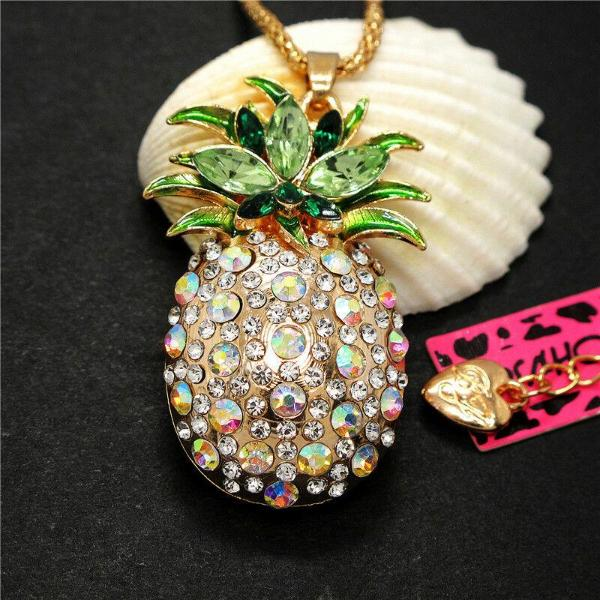 Betsey Johnson Pineapple Abalone Crystals Gold Pendant Necklace