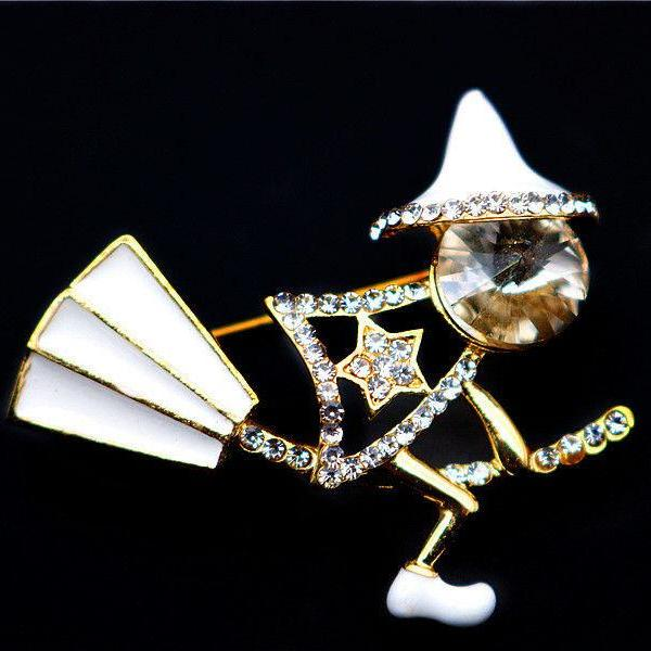 Betsey Johnson Witch on Broom White Enamel Halloween Brooch Pin