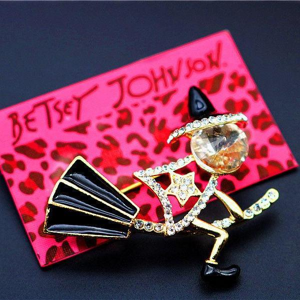 Betsey Johnson Witch on a Broom Halloween Brooch Pin