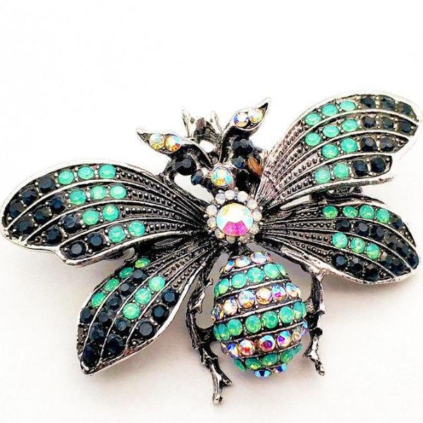 Betsey Johnson Bumblebee Bee Green Crystal Brooch Pin