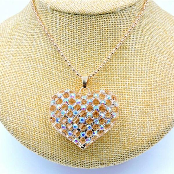 Betsey Johnson Heart Abalone Crystals Gold Pendant Necklace