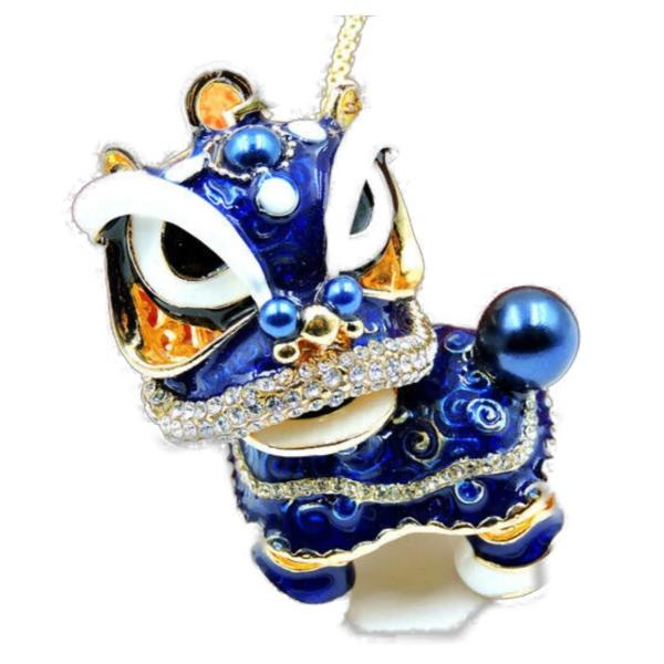Betsey Johnson Chinese Dragon Blue Enamel Pendant Necklace