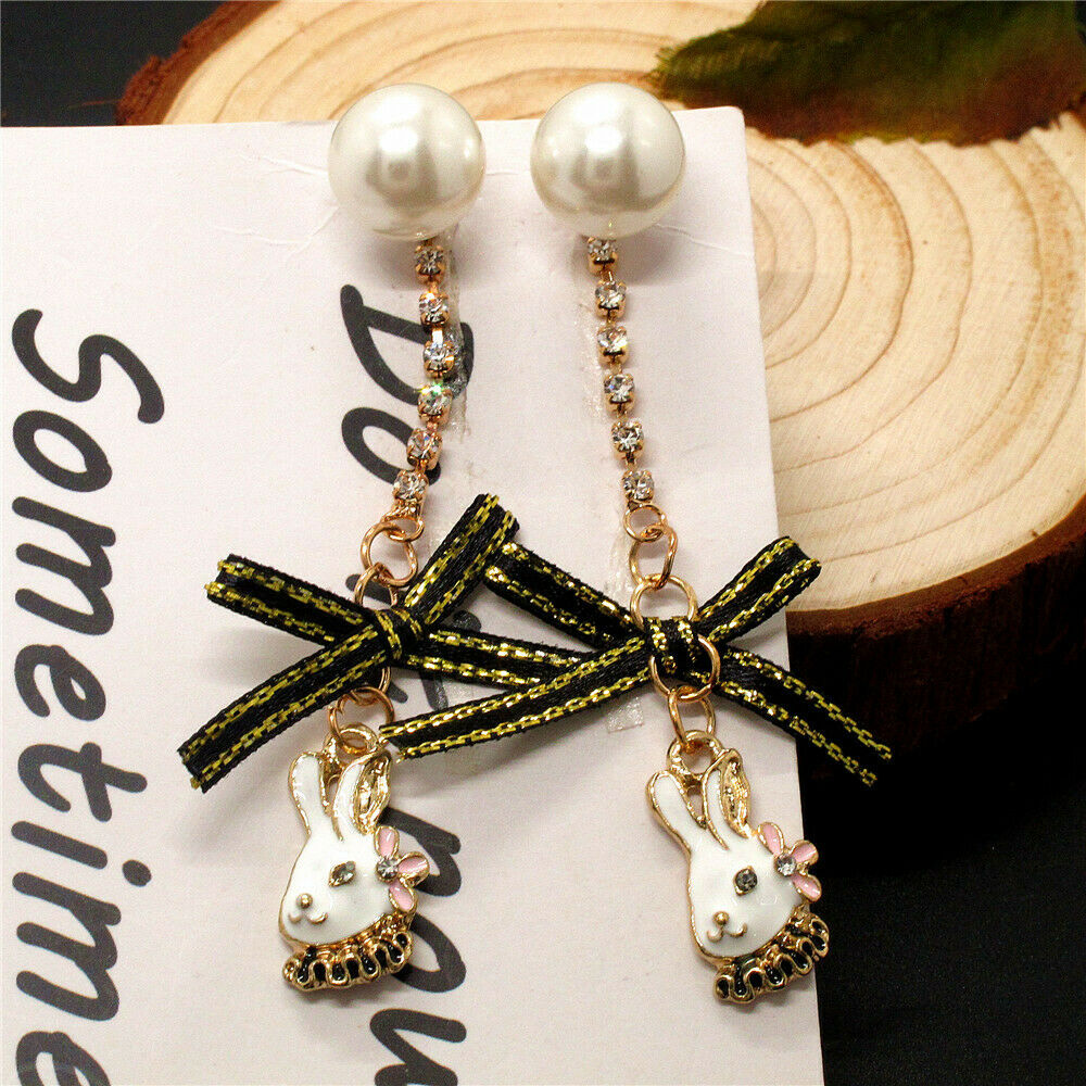 Betsey Johnson Rabbit Faux Pearl Bow Dangle Earrings