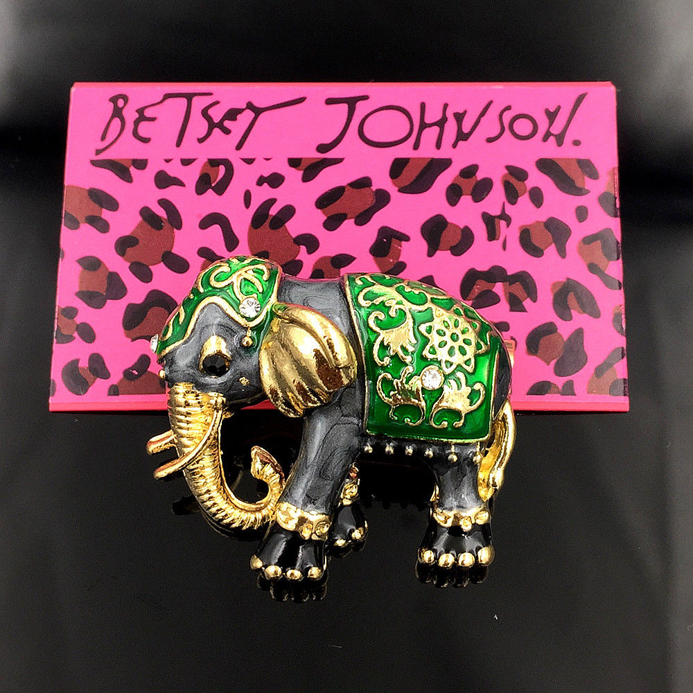 Betsey Johnson Green & Gray Enamel Elephant Animal Brooch Pin
