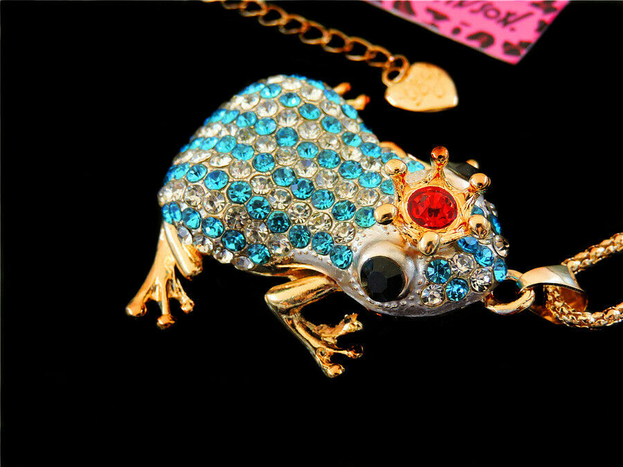 Betsey Johnson Blue & Clear Crystal Crowned Striped Frog Pendant Necklace