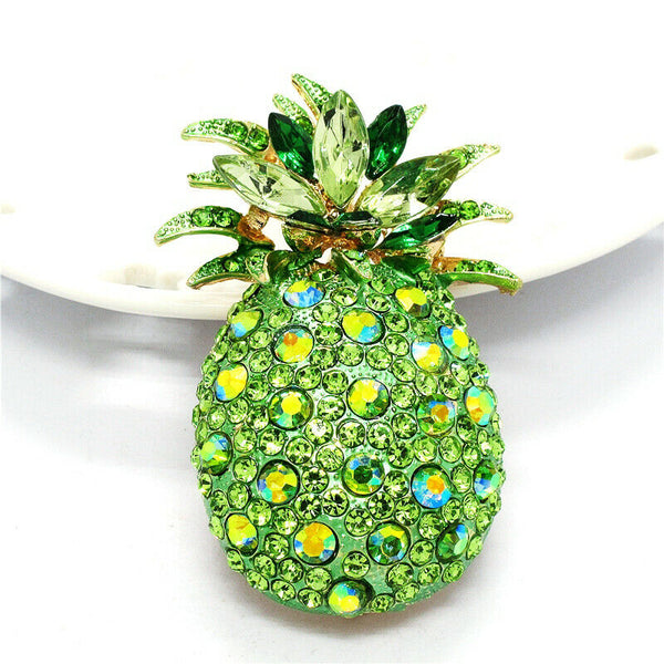 Betsey Johnson Pineapple Green Crystals Brooch Pin