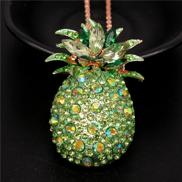 Betsey Johnson Pineapple Green Crystals Brooch Necklace