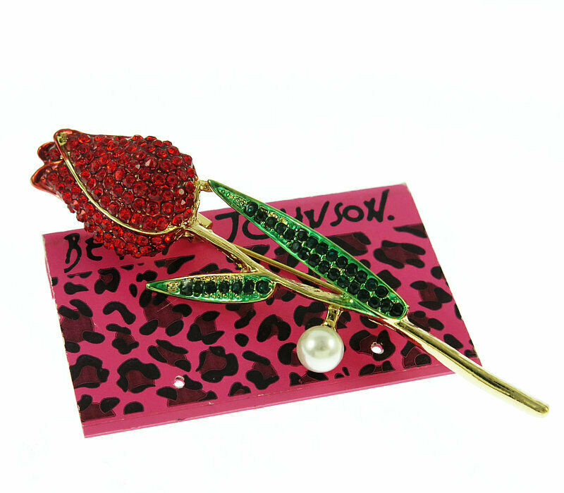 Betsey Johnson Red Rhinestone Flower Brooch Pin