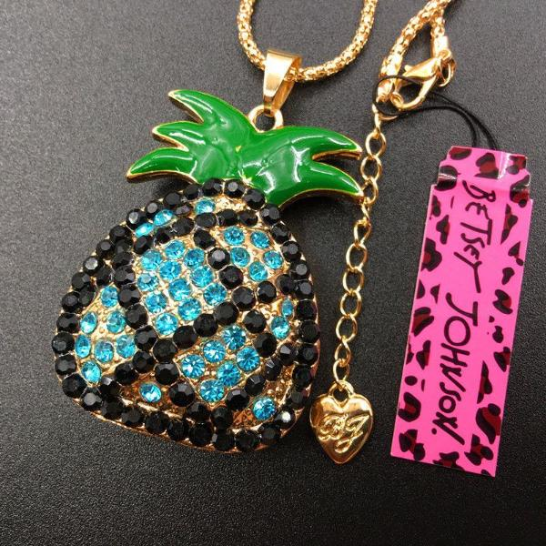 Betsey Johnson Blue & Black Crystal Pineapple Gold Necklace