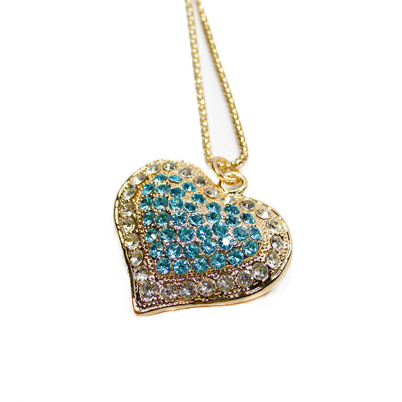 Betsey Johnson Blue Inlay Crystal Heart Gold Necklace