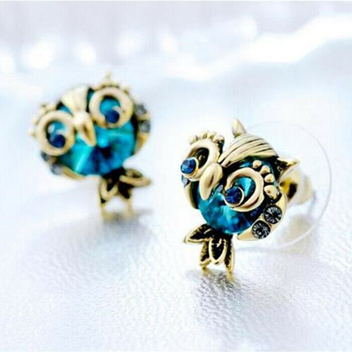 Betsey Johnson Cute Gold Owl Blue Rhinestone Earrings