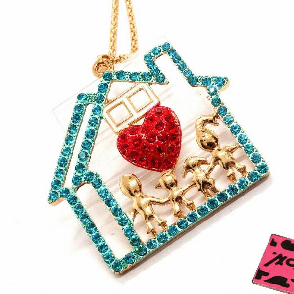 Betsey Johnson Family House Heart Crystal Gold Pendant Necklace