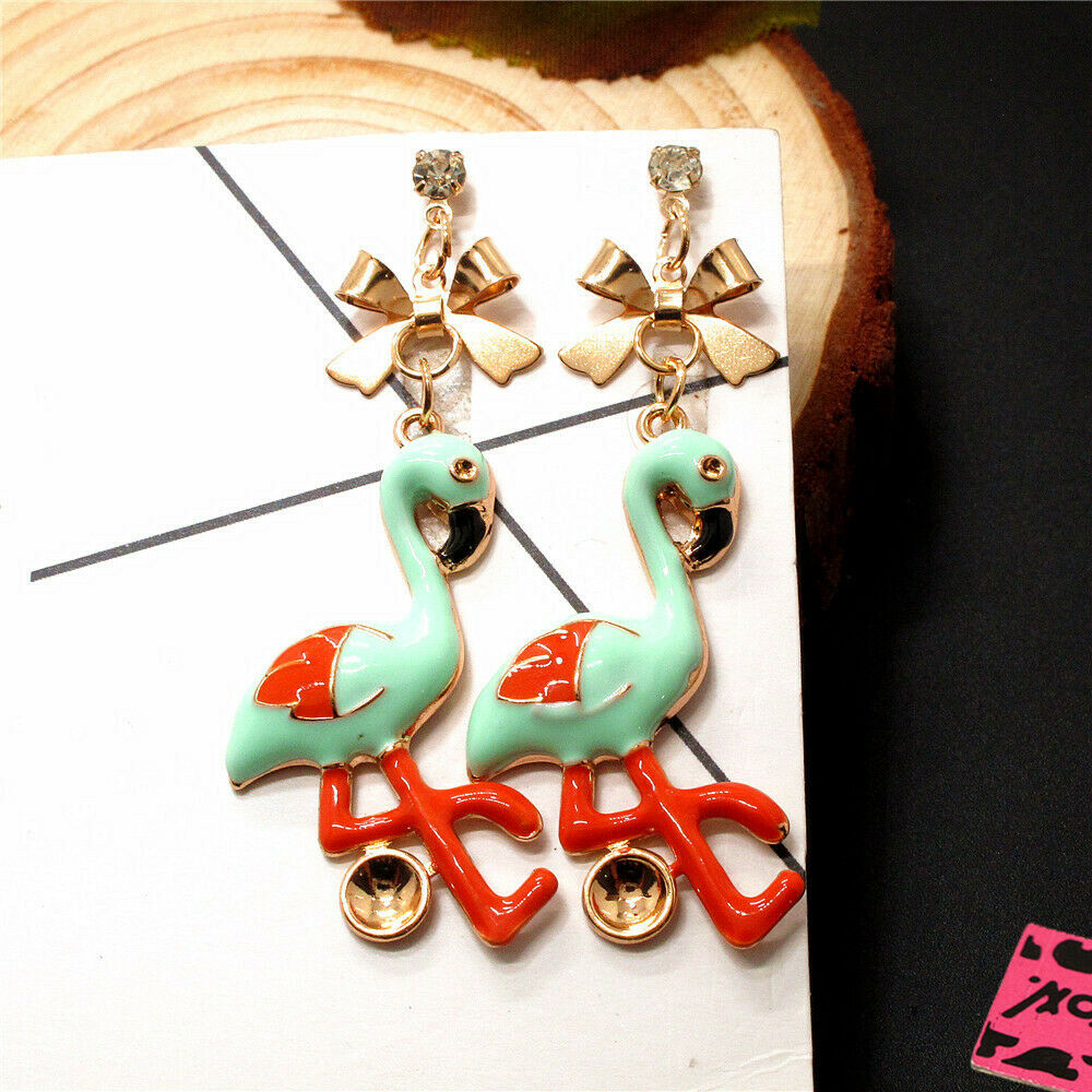 Betsey Johnson Blue & Orango Flamingo Dangle Earrings