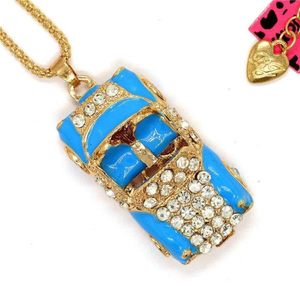 Betsey Johnson Blue Enamel Convertible Car Crystal Pendant Necklace