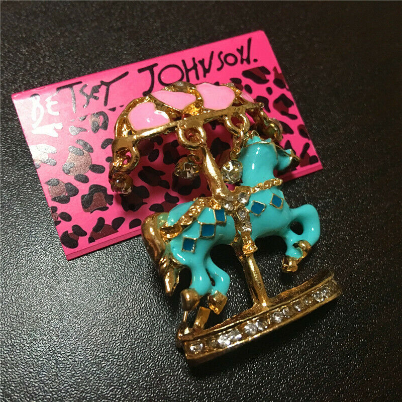 Betsey Johnson Blue Enamel Horse Carousel Merry Go Round Brooch Pin