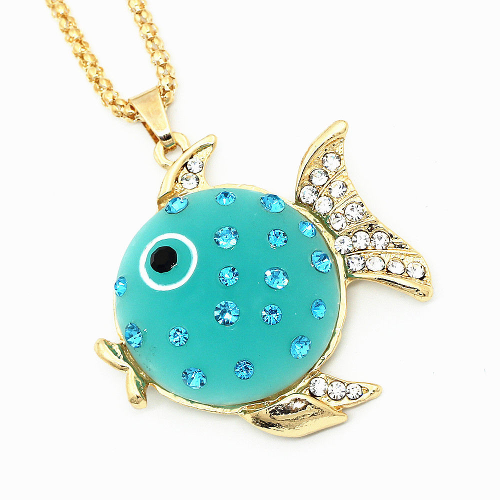 Betsey Johnson Fish Blue Resin Rhinestone Gold Necklace