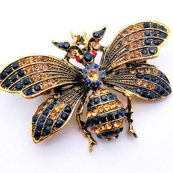 Betsey Johnson Bumblebee Bee Navy Blue Crystal Gold Brooch Pin