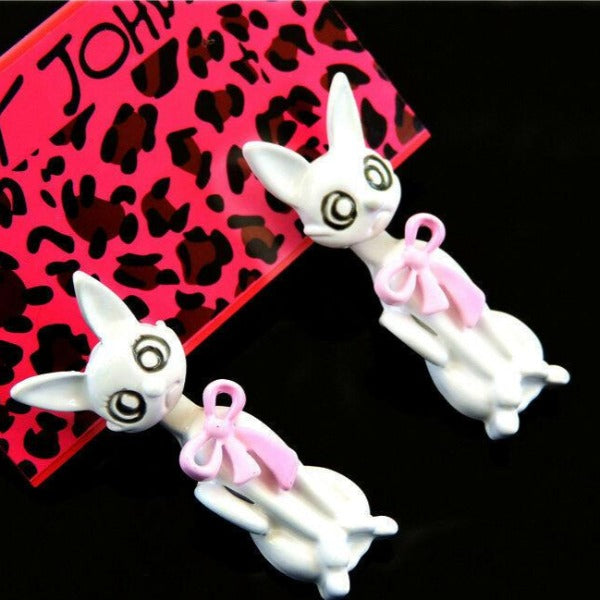 Betsey Johnson Adorable White Crazy Cat Pink Bow Earrings