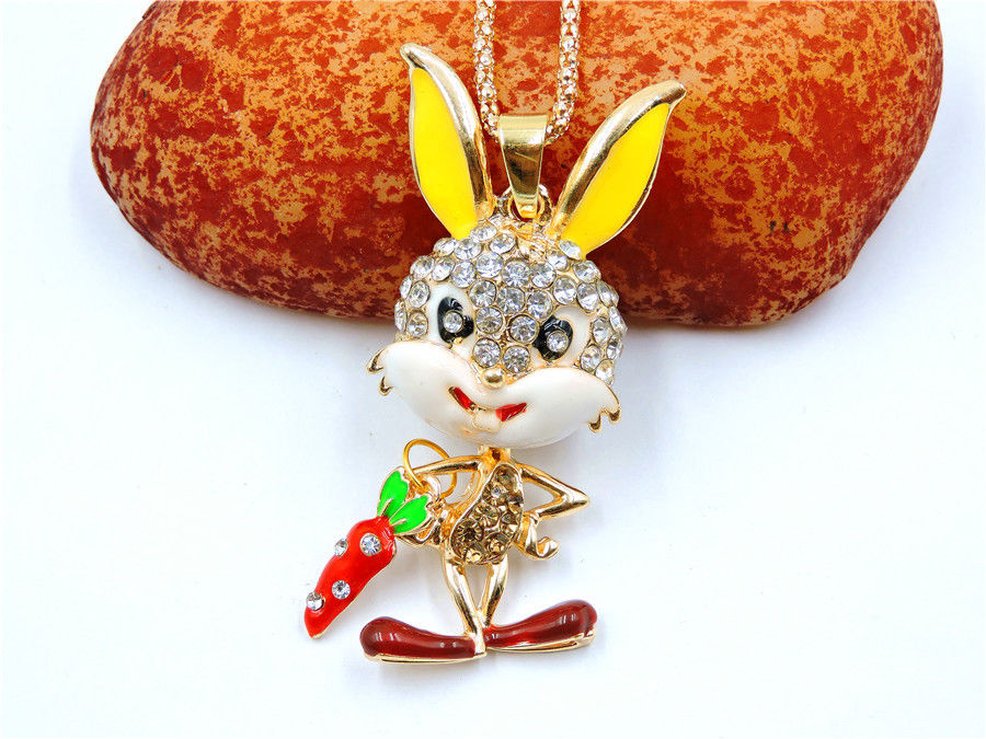 Betsey Johnson Bunny Rabbit With Carrot Rhinestone Gold Necklace