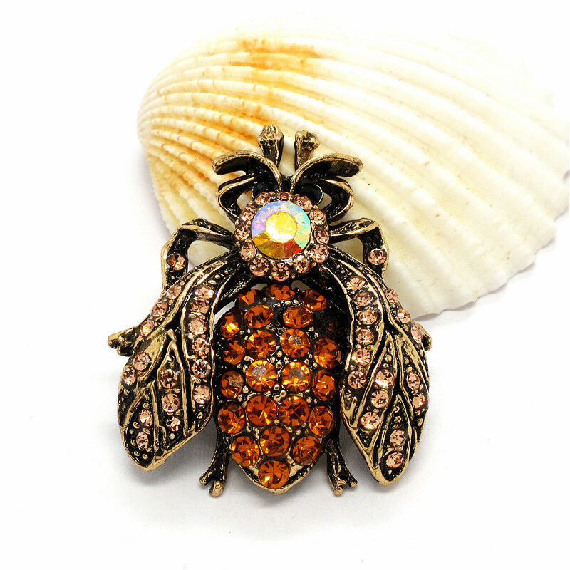 Betsey Johnson Bee Honeybee Champagne Inlaid Crystals Brooch Pin