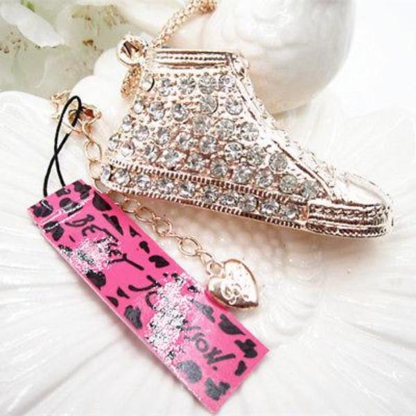 Betsey Johnson Clear Rhinestone High Top Tennis Shoe Chain Necklace