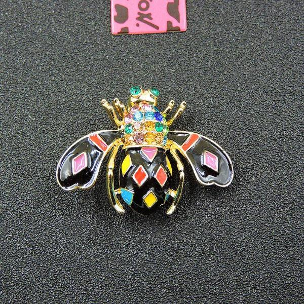 Betsey Johnson Colorful Enamel Bumblebee Bee Inlaid Crystals Brooch Pin