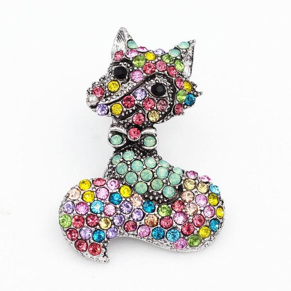Betsey Johnson Multi-Color Crystal Rhinestone Fox Brooch Pin