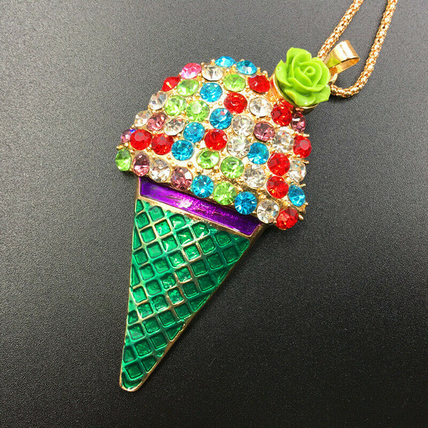 Betsey Johnson Ice Cream Cone Pendant Necklace