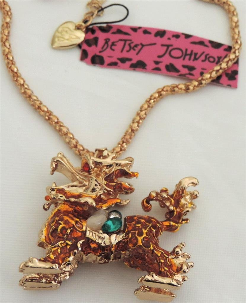 Betsey Johnson Dragon Green Crystal Gold Pendant Necklace