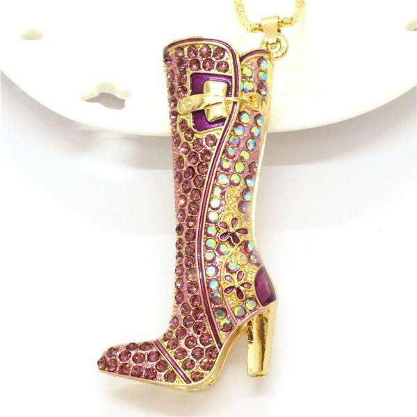 Betsey Johnson High Heel Boot Purple Crystal Pendant Necklace