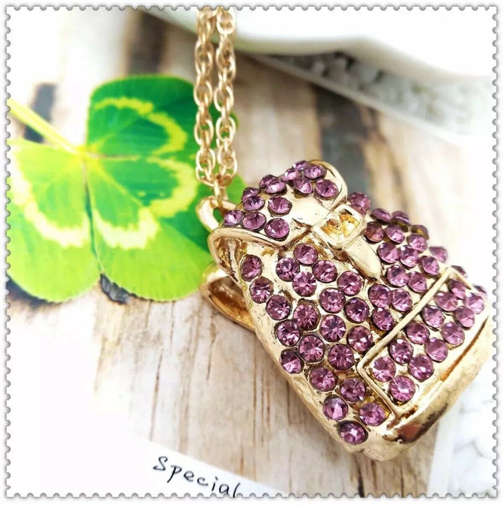 Betsey Johnson Back Pack Purple Crystal Pendant Necklace