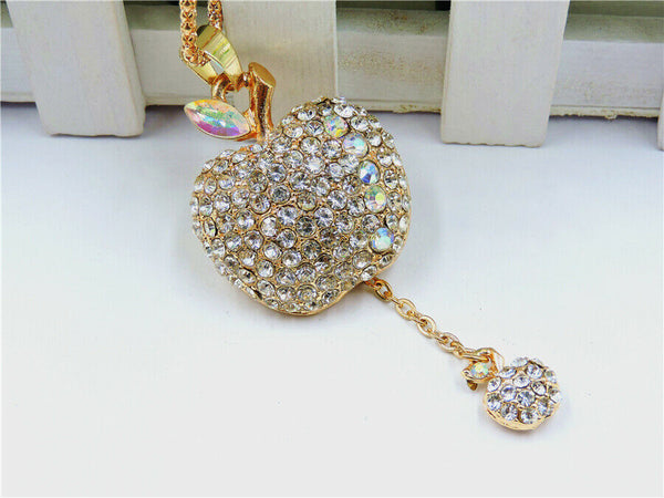 Betsey Johnson White Crystal Apple Pendant Necklace