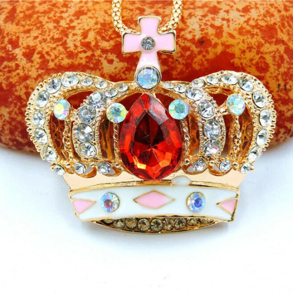 Betsey Johnson Jeweled Crown Rhinestone Pendant Necklace