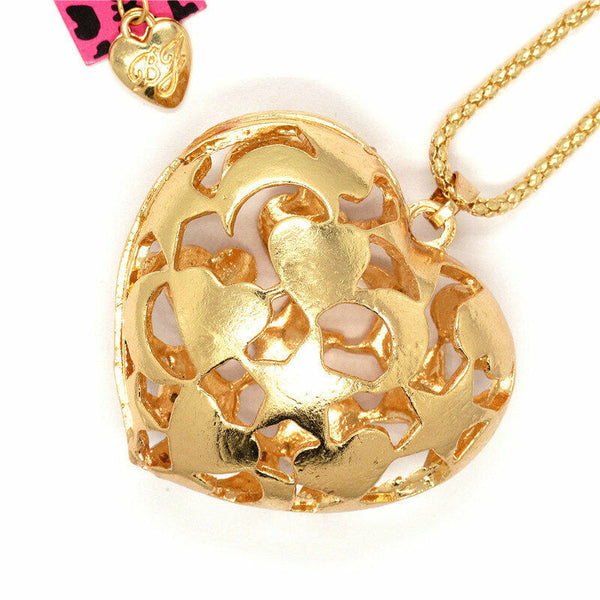 Betsey Johnson Heart Star Moon Rhinestone Pendant Necklace