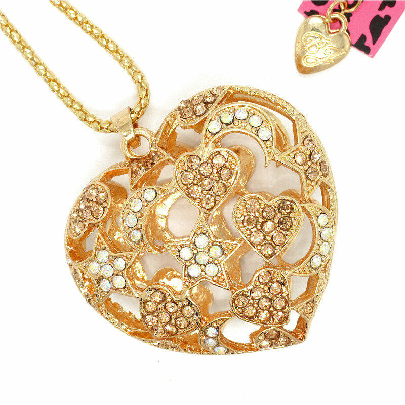 Betsey Johnson Pink Heart Cut-out Moon Stars Gold Pendant Necklace