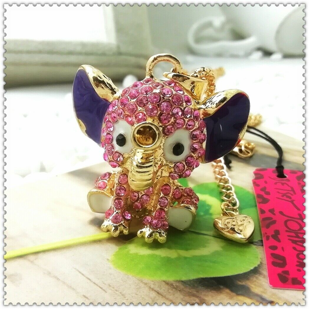 Betsey Johnson Elephant Pink & Purple Rhinestone Gold Necklace