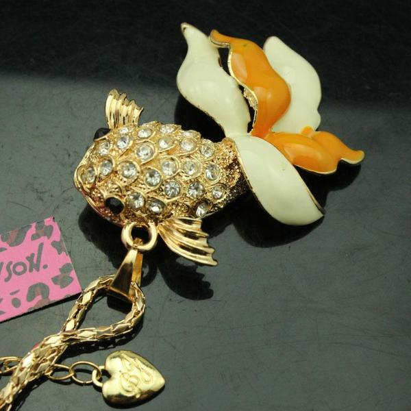 Betsey Johnson Orange Goldfish Beta Fish Crystal Pendant Necklace