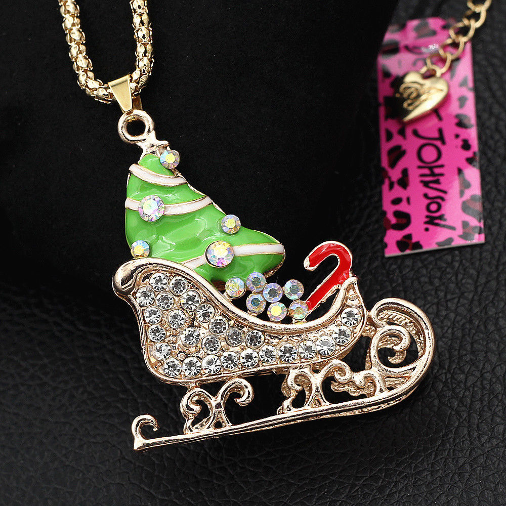 Betsey Johnson Crystal Green Enamel Santa's Sleigh Candy Cane Necklace