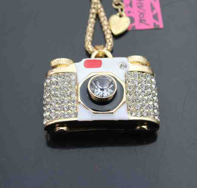 Betsey Johnson Camera Crystal White Enamel Necklace