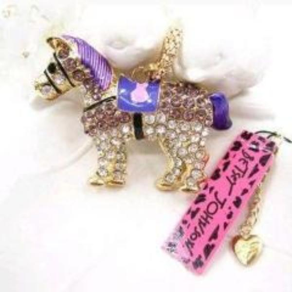Betsey Johnson Purple Enamel Horse Pony Rhinestone Gold Necklace