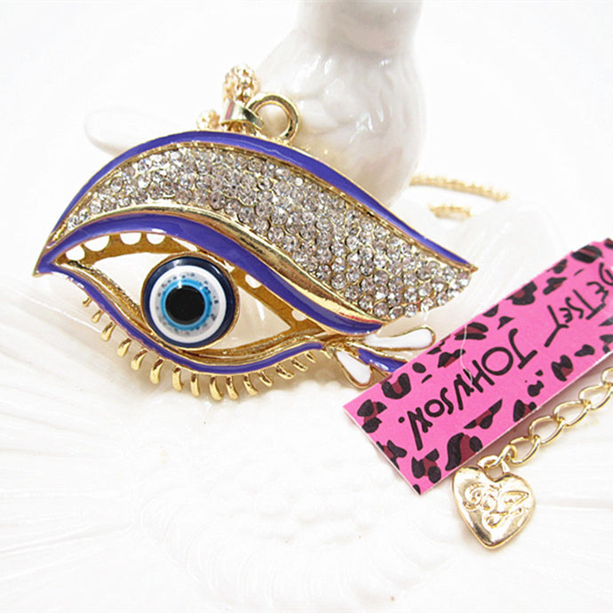 Betsey Johnson Purple Enamel Evil Eye Rhinestone Gold Necklace