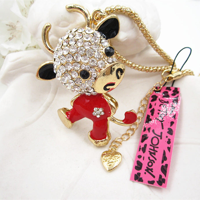 Betsey Johnson Red Enamel Cow Crystal Rhinestone Pendant Necklace