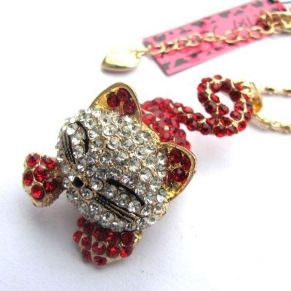 Betsey Johnson Smiling Kitty Cat Red Rhinestone Gold Necklace