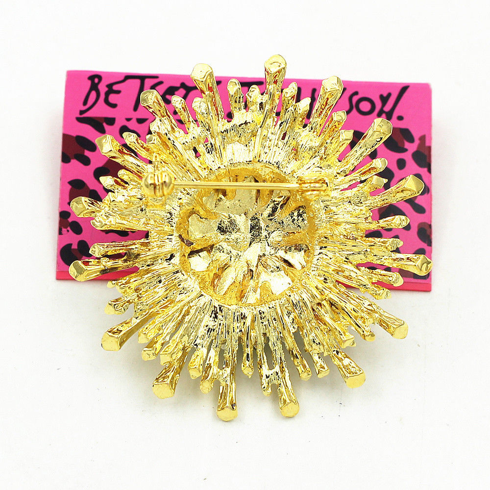 Betsey Johnson Blue Crystal Rhinestone Sunflower Flower Brooch Pin