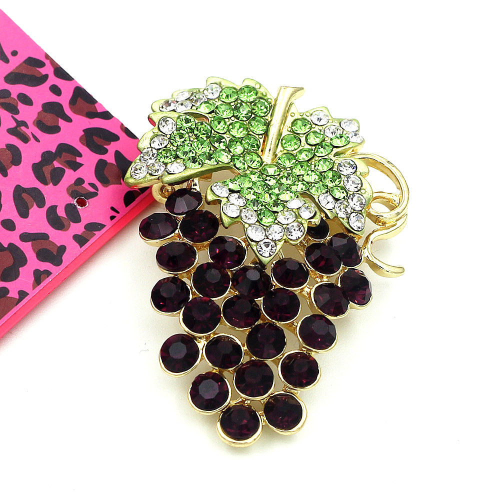 Betsey Johnson Purple Grapes Crystal Brooch Pin