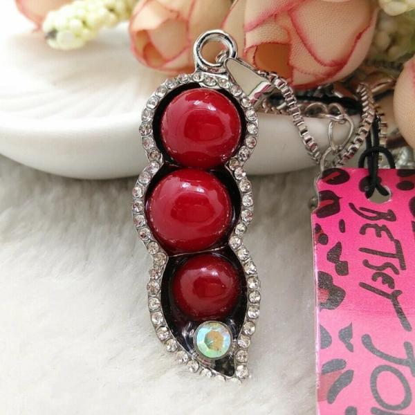 Betsey Johnson Red Peas In A Pod Rhinestone Pendant Necklace