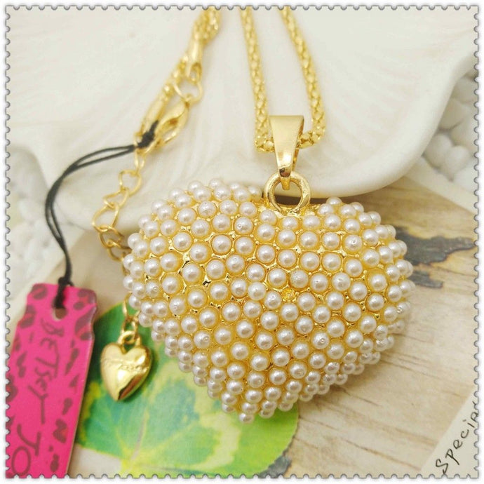Betsey Johnson Ivory Faux Pearl Heart Shaped Pendant Gold Necklace