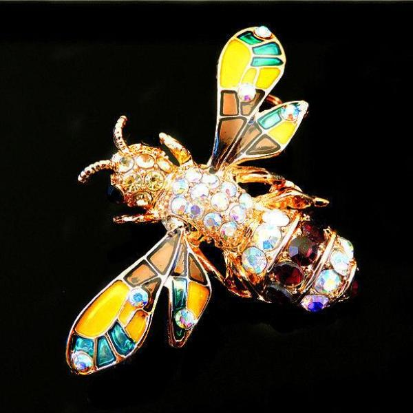 Betsey Johnson Crystal Bee Honeybee Multi-Color Enamel Brooch Pin