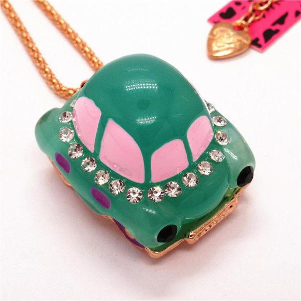 Betsey Johnson Car Blue Resin Enamel Crystal Necklace