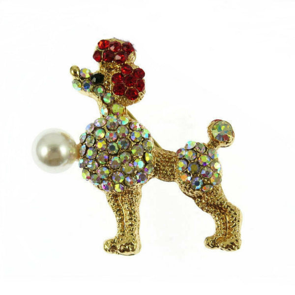 Betsey Johnson Small Poodle Crystal Faux Pearl Brooch